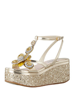 Miu Miu Metallic Glitter Flower Wedge, Gold
