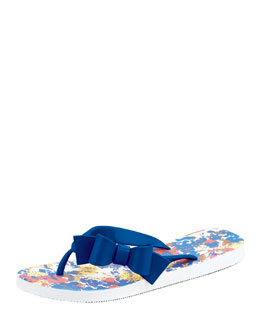 RED Valentino Printed Bow Flip Flop, Blue