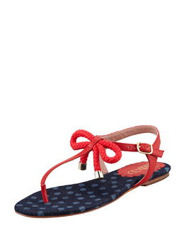 RED Valentino Leather and Rope Bow Thong Sandal