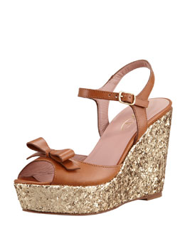 RED Valentino Leather Bow and Glitter Wedge Sandal