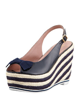 RED Valentino Patent Leather Striped Wedge Sandal