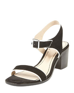 Elizabeth and James Ryann Tipped Leather Mid Sandal, Black