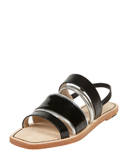 Elizabeth and James Nicki Mixed Media Slingback Flat Sandal, Black