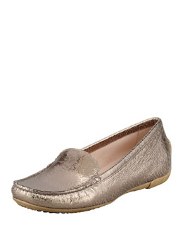 Stuart Weitzman Mach 1 Metallic Leather Driver Moccasin, Gold