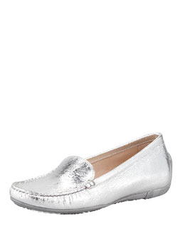 Stuart Weitzman Mach 1 Metallic Leather Driver Moccasin, Silver