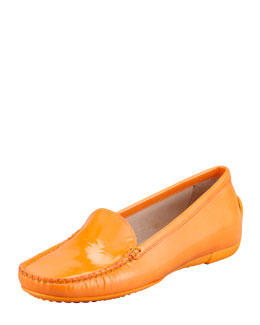 Stuart Weitzman Mach 1 Patent Leather Driver Moccasin, Papaya Orange