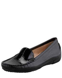 Stuart Weitzman Mach 1 Patent Leather Driver Moccasin, Black