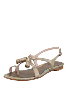 Stuart Weitzman Flapper Holographic Leather Sandal, Steel