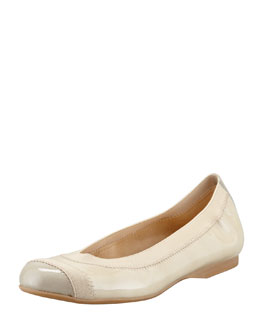 Stuart Weitzman Tipable Patent Leather Ballet Flat, Birch