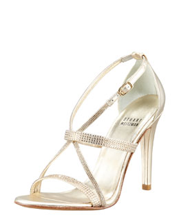 Stuart Weitzman Surreal Jewel-Detailed Crisscross Sandal, Gold