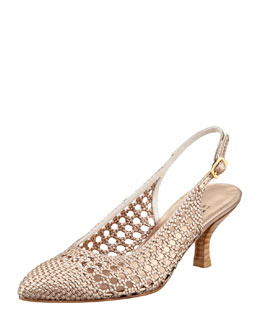 Stuart Weitzman Meeting Woven Leather Kitten-Heel Slingback, Beige
