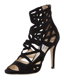 Jimmy Choo Verdict Suede Cutout Sandal, Black