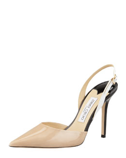 Jimmy Choo Volt Patent Pointed Slingback, Nude/White/Black