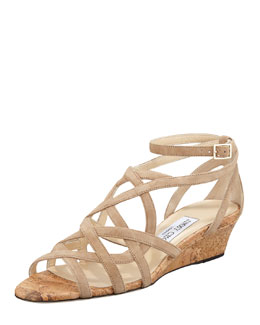 Jimmy Choo Dawn Suede and Cork Wedge Sandal, Nude