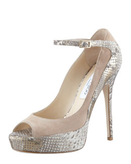 Jimmy Choo Tami Suede Metallic-Snake Pump