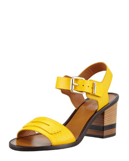 Fendi Lizard-Stamped Penny Low Heel Sandal