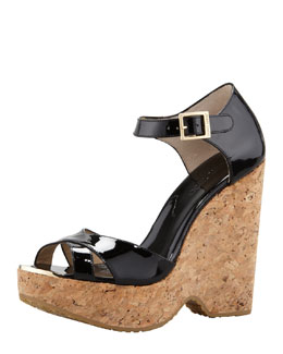 Jimmy Choo Pape Patent Wedge Sandal, Black