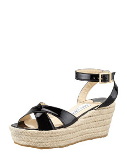 Jimmy Choo Pepper Patent Leather Espadrille Wedge Sandal, Black