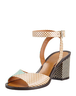 Fendi Joker Check Leather Ankle-Wrap Sandal, Green/Tan