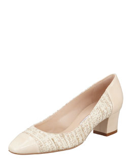 Oscar de la Renta Patent Cap Toe Tweed Pump