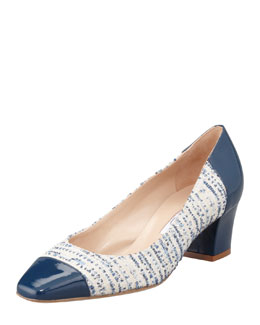 Oscar de la Renta Metallic Tweed Cap-Toe Pump