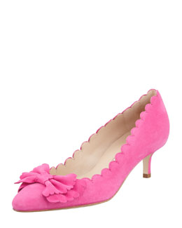 Oscar de la Renta Scalloped Suede Bow Pump