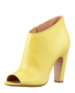 Maison Martin Margiela Leather Peep-Toe Ankle Boot, Yellow