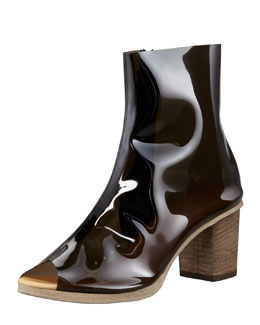 MM6 Maison Martin Margiela PVC Peep-Toe Ankle Boot