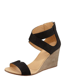 MM6 Maison Martin Margiela Crisscross Suede Wedge Sandal