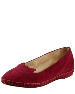 Charlotte Olympia Capri Cats Cotton Velvet Cat-Face Slipper, Fuchsia