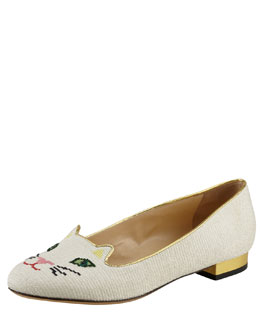 Charlotte Olympia Kitty Cat-Embroidered Slipper, White