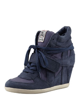Ash Suede Wedge Sneaker, Navy