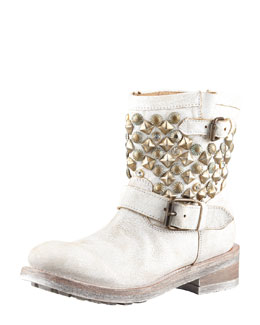Ash Titanic Studded Motorcycle Boot, White