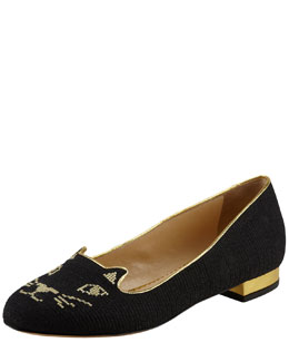 Charlotte Olympia Kitty Cat-Embroidered Slipper, Black