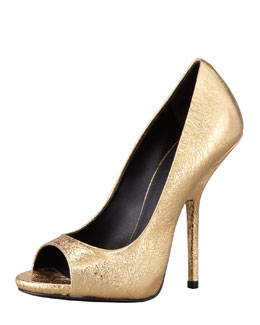 Giuseppe Zanotti Crackled Metallic Peep-Toe Pump, Gold