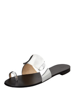 Giuseppe Zanotti Shield-Covered Flat Slide, Silver