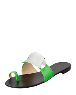 Giuseppe Zanotti Shield-Covered Flat Slide, Green