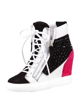 Giuseppe Zanotti Crystal Colorblock Wedge Sneaker, Black/Pink/White