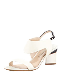 Nicholas Kirkwood Metallic-Heel Leather Sandal, White