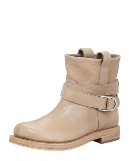 Brunello Cucinelli Crackled Leather Ankle Boot, Mushroom