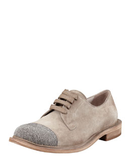 Brunello Cucinelli Monili Cap-Toe Oxford, Light Taupe