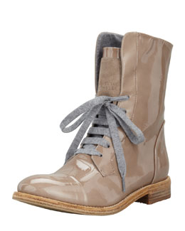 Brunello Cucinelli Patent Lace-Up Work Boot, Mushroom