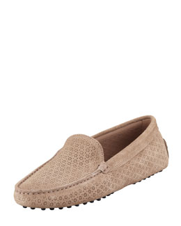 Tod's Gommini Perforated Suede Moccasin