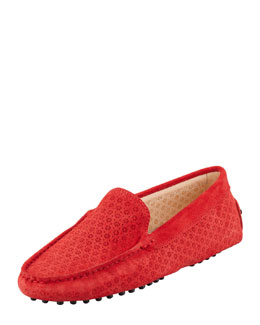 Tod's Suede Perforated Gommini Moccasin, Red