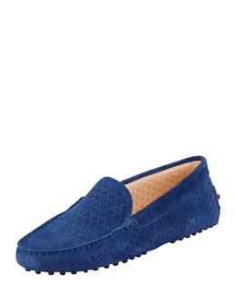 Tod's Suede Perforated Gommini Moccasin, Navy
