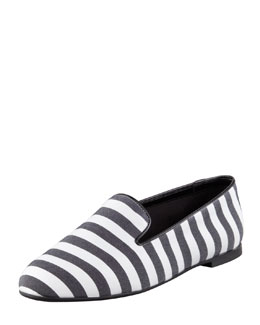Tod's Striped Slipper, Black/White