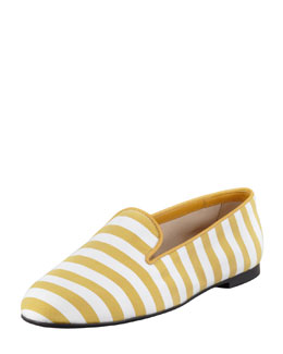 Tod's Striped Slipper, Yellow/White