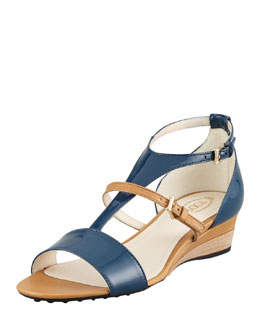 Tod's Patent T-Strap Wedge, Blue