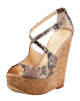 Alexandre Birman Python Cork Wedge, Light Pink