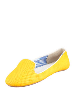Charles Phillip Shanghai Lizette Python-Embossed Slip-On Loafer, Yellow